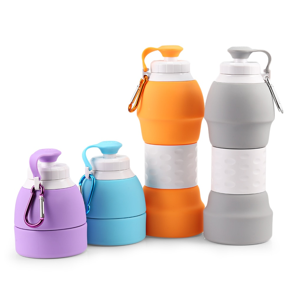 Silicone 500ml Collapsible Drink Cup Silicone Sports Foldable Water Bottle